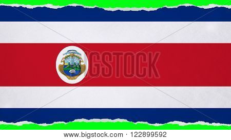 Flag of Costa Rica painted on paper texture