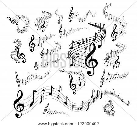 Wavy music staves. Vector set on white background