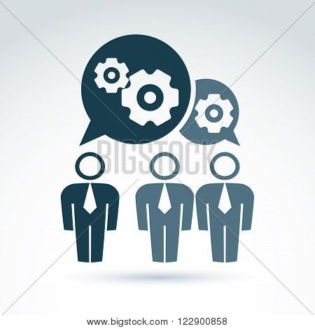 Vector Illustration Of Gears - Enterprise System Theme, Organization Strategy Concept. Cog-wheels An