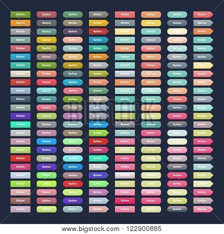 Vector big set web colorful buttons.Buttons vector illustration.Button isolated on dark background.Button vector icons collection.Web button isolated vector