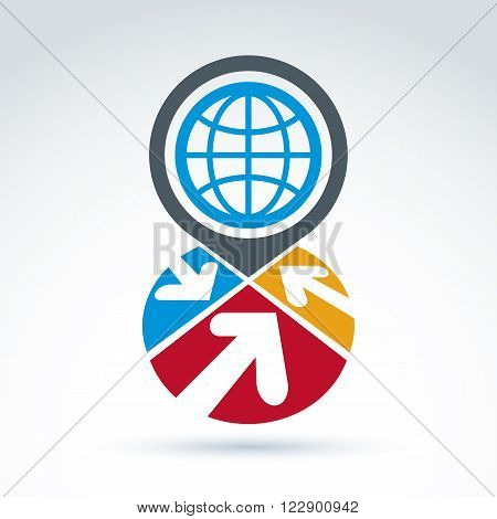 Colorful Corporate Brand Icon With A Planet Symbol. Marketing Emblem On Earth Protection Idea. Abstr