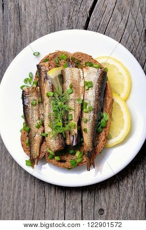 Sandwich with sprats and green onion on white plate top view