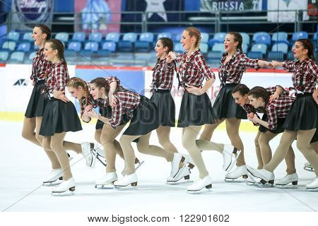 ZAGREBCROATIA - MARCH 12 : Team Croatia perform in the Juniors Free Skating during Day 2 of the ISU Synchronized Skating Junior World Challenge Cup at Dom Sportova on March 122016 in ZagrebCroatia.