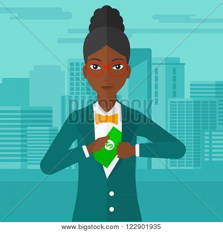 Woman putting money in pocket.