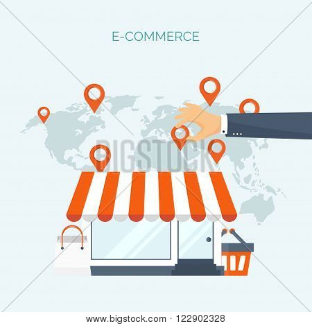 Vector illustration. Flat header. Shopping. Web store. Global communication, trading. E-business. Commerce, money making. Internet banking.