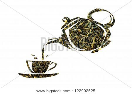 Teapot And Cup Made Of Green Tea On A White Background