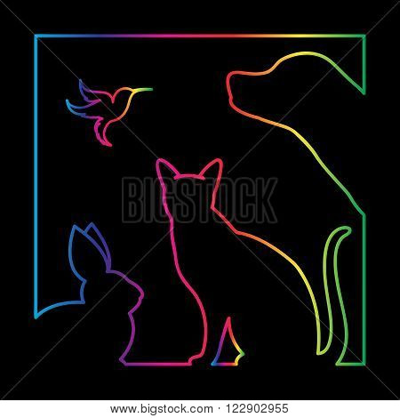 Vector group of pets in the frame - Dog cat bird rabbit Isolated on a black background