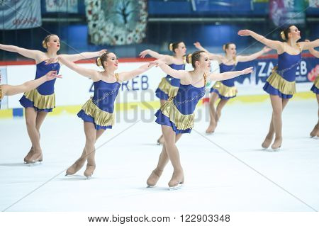 ZAGREB,CROATIA-MARCH 12:Team Netherlands perform in the Juniors Free Skating during Day 2 of the ISU Synchronized Skating Junior World Challenge Cup at Dom Sportova on March 12,2016 in Zagreb,Croatia.