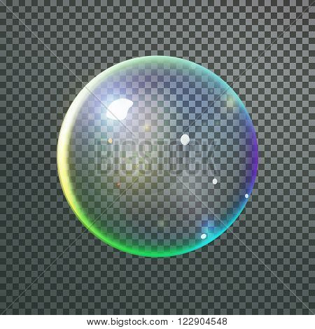 Colorful bubble in vector. Isolated Soap Water bubble with reflection