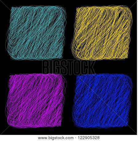 Vector color Rope hank on black background 2