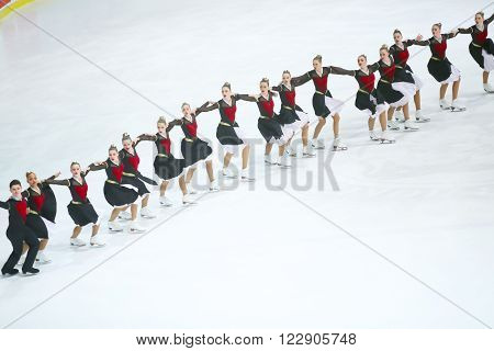 ZAGREB, CROATIA- MARCH 12: Cool Dreams Senior from Switzerland perform in the Seniors Free Skating during Day 2 of the 13th Zagreb Snowflakes Trophy at Dom Sportova on March 12,2016 in Zagreb, Croatia