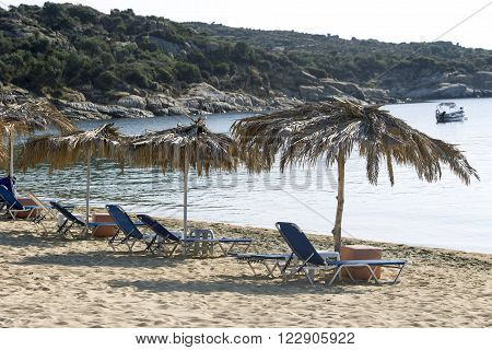 Beach with yellow sand in Greece Chalkidiki Sithonia.