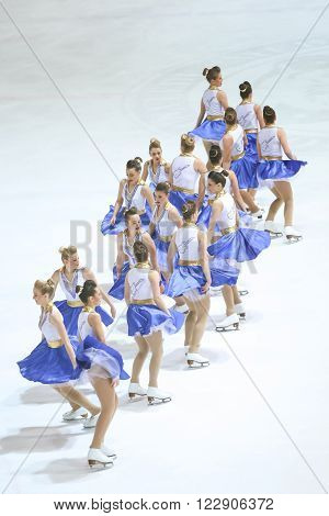 ZAGREB, CROATIA - MARCH 12 : Team Zagreb Snowflakes Senior perform in the Seniors Free Skating during Day 2 of the 13th Zagreb Snowflakes Trophy at Dom Sportova on March 12, 2016 in Zagreb, Croatia.