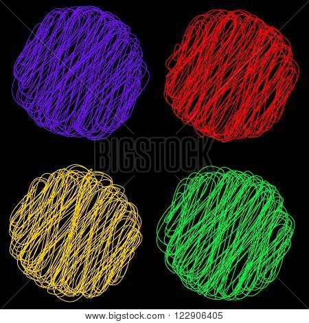 Vector color Rope hank on black background 4