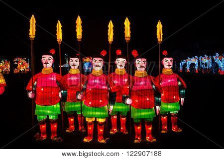 London United Kingdom - February 07 2016: Magical Lantern Festival at Chiswick House And Gardens. Chinese warriors lanterns