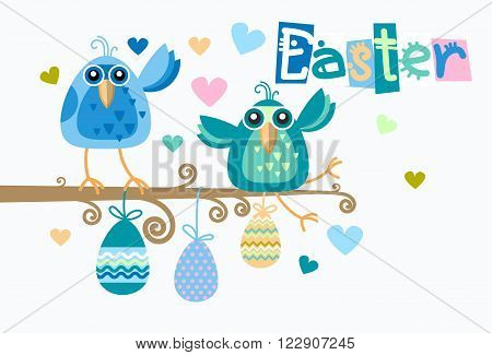 Group Of Birds Sitting on Branch Hang Decorated Eggs Happy Easter Holiday Flat Vector Illustration