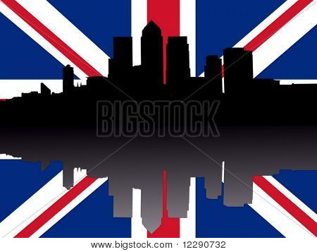 London Docklands Skyline reflected with British Flag