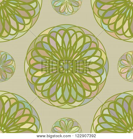 seamless pattern from the circular repeating mosaic elements. vector illustration