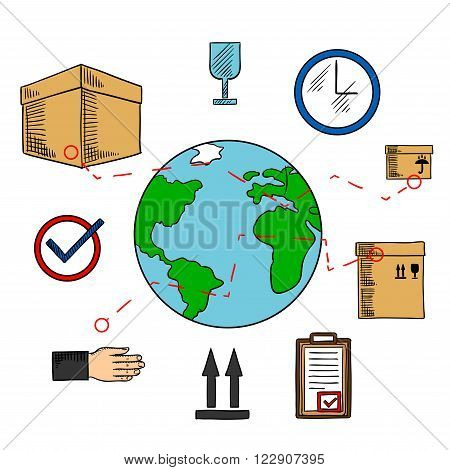Worldwide shipping and logistics service icons with earth globe and delivery routes, cardboard packages with keep dry, up and fragile symbols, wall clock and clipboard with approved form