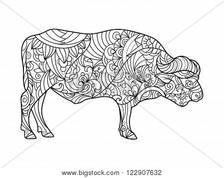 Buffalo animal coloring book for adults vector illustration. Anti-stress coloring for adult. Zentangle style. Black and white lines. Lace pattern