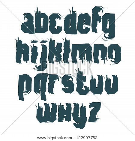 Vector monochrome calligraphic font handwritten watercolor lowercase letters isolated on white dirty creative typeface drawn with ink brush.