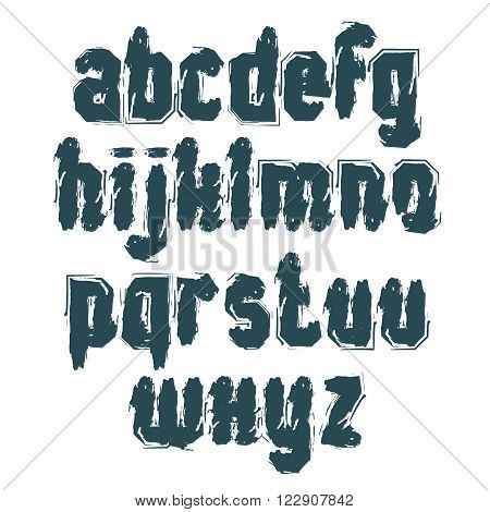 Monochrome handwritten lowercase letters vector doodle typescript hand-painted set of letters with brushstrokes.