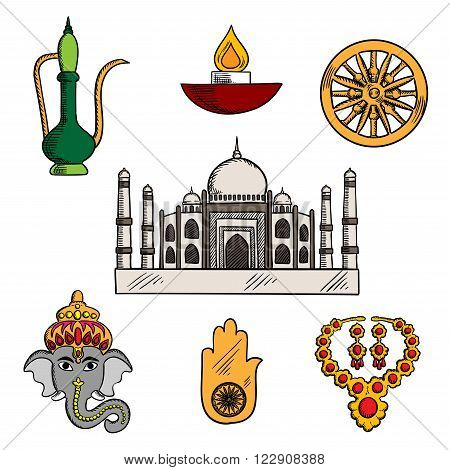 Indian travel, religion and culture icons with Taj Mahal, surrounded by god Ganesha and gold jewelry, diwali lamp and copper teapot, lucky amulet of hamsa hand and ashoka chakra symbols. Sketch style
