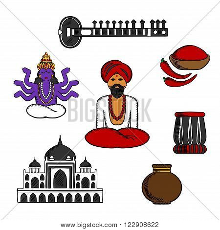 Indian monk sadhu in national dress with god vishnu, fresh red chilli pepper and bowl of chilli powder, vase and  ancient temple, sitar and tabla drum. Culture, religion and travel symbols