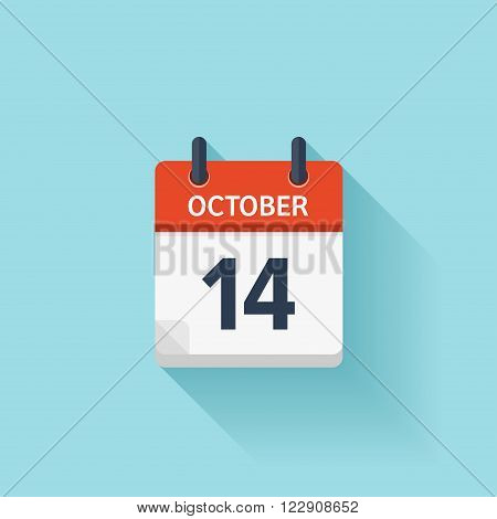 October  14. Vector flat daily calendar icon. Date and time, day, month. Holiday.