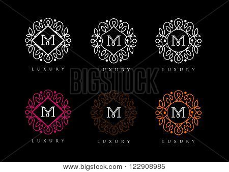 Elegant Letter Logo M Simple and elegant floral design logo. Elegant luxury vector logo design