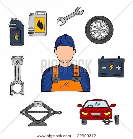 Mechanic in blue uniform with symbols of car on jack, wheel and spanner, piston, battery and motor oil