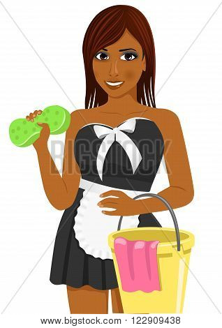 female african american housekeeping worker with soap sponge, bucket and a rag isolated over white background