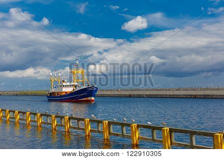 Boat in the sea port of a sunny summer day, Gdynia, Baltic, Poland