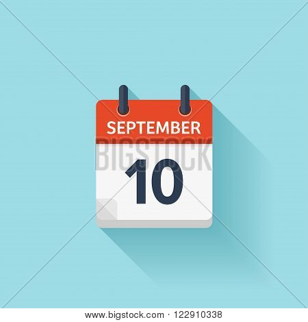September  10. Vector calendar icon. Date, day, month.