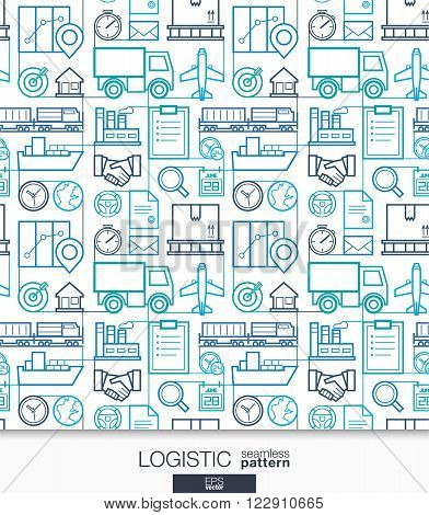 Logistic business wallpaper. Delivery and distribution seamless pattern. Tiling with thin line integrated web icons. Vector transportation illustration. Abstract background for website, presentation