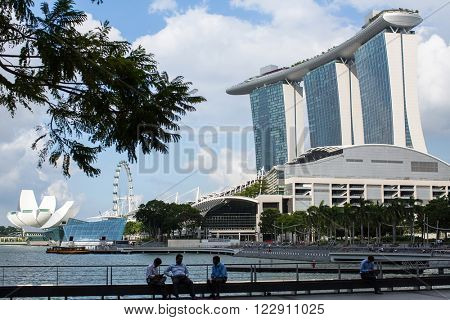 SINGAPORE - FEB 18, 2016: Marina Bay Sand hotel against blue sky background. Developed by Las Vegas Sands, it is billed as the world's most expensive standalone casino property at $8 billion.
