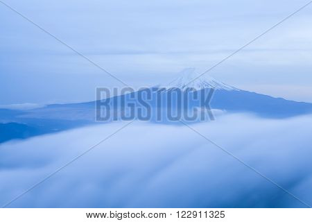 Top of Mountain Fuji and cloud seen from Top of Mountain mitsutoge ** Note: Visible grain at 100%, best at smaller sizes
