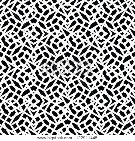 Monochrome messy seamless pattern with parallel lines black and white infinite geometric mosaic textile abstract vector textured web covering.