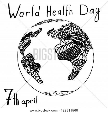 World health day concept with globe. Zentangle anti stress coloring page