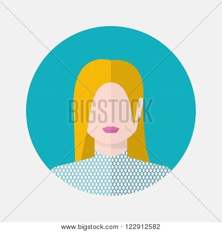 Vector female avatar icon in flat style nordic nationality.