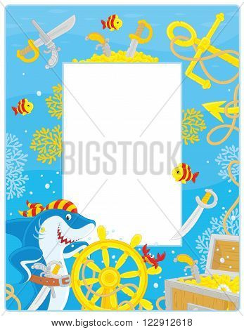 Vector vertical frame border with a pirate shark, a steering wheel, an anchor and a treasure chest from a sunken ship
