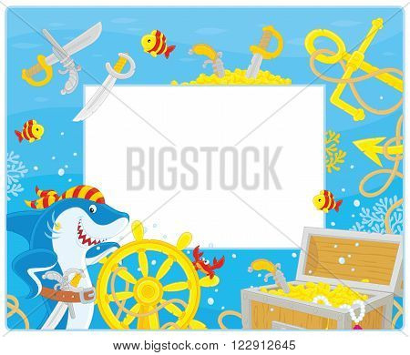 Vector horizontal frame border with a pirate shark, a steering wheel, an anchor and a treasure chest from a sunken ship