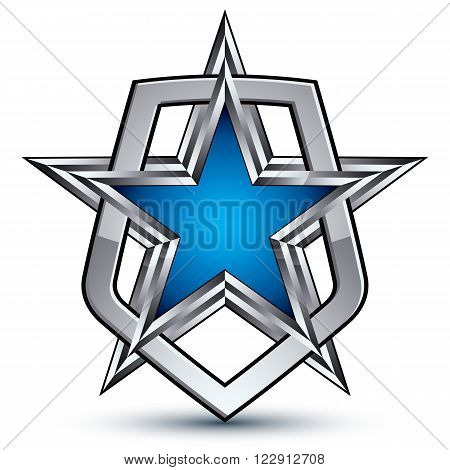 Renown vector silver emblem with pentagonal star 3d sophisticated design element. Dimensional coat of arms isolated on white background.