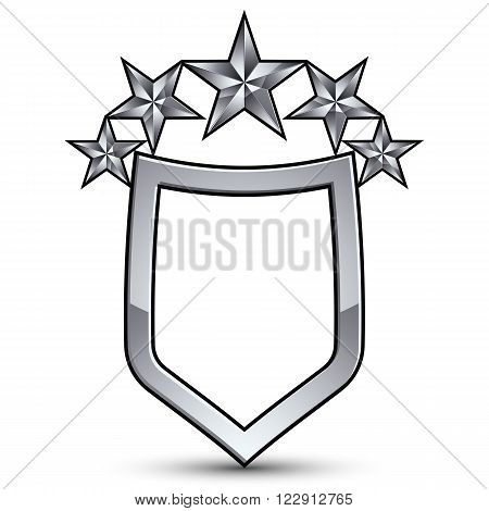 Festive vector emblem with silver outline and five decorative pentagonal stars 3d royal conceptual design element. Symbolic coat of arms isolated on white background. Heraldic escutcheon.