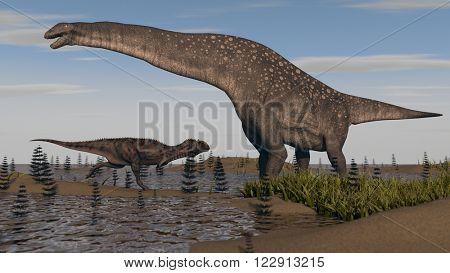 titanosaurus in swamp grass