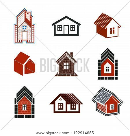 Simple Cottages Collection, Real Estate And Construction Theme. Houses Vector Illustration With Hear