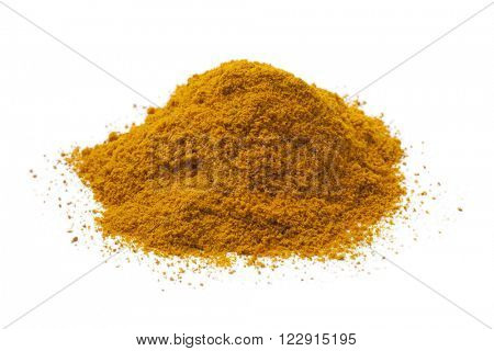 Heap of yellow turmeric powder on white background