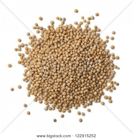 Heap of dried mustard seeds on white background