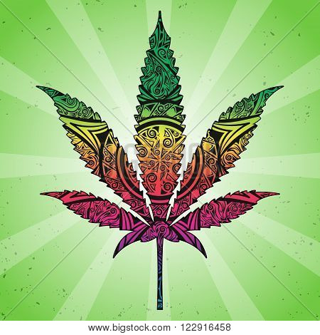 Marijuana in abstract ornate. Illustration can be used in tattoos, posters, printing on T-shirts and other things.