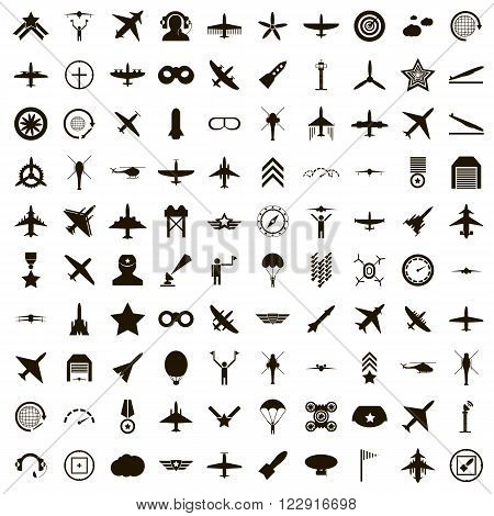100 aviation icons set use for any design